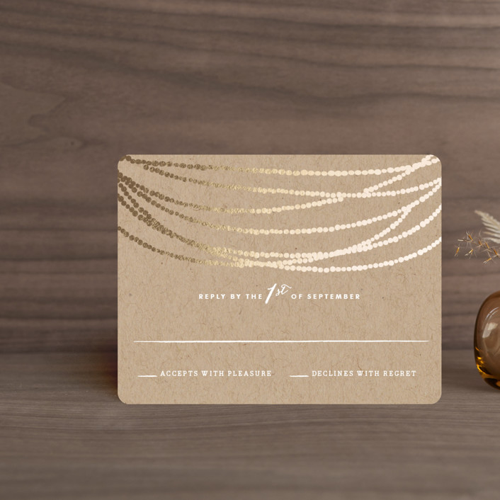"""""""Gold Rush"""" - Whimsical & Funny, Preppy Foil-pressed Rsvp Cards in Kraft by Annie Clark."""