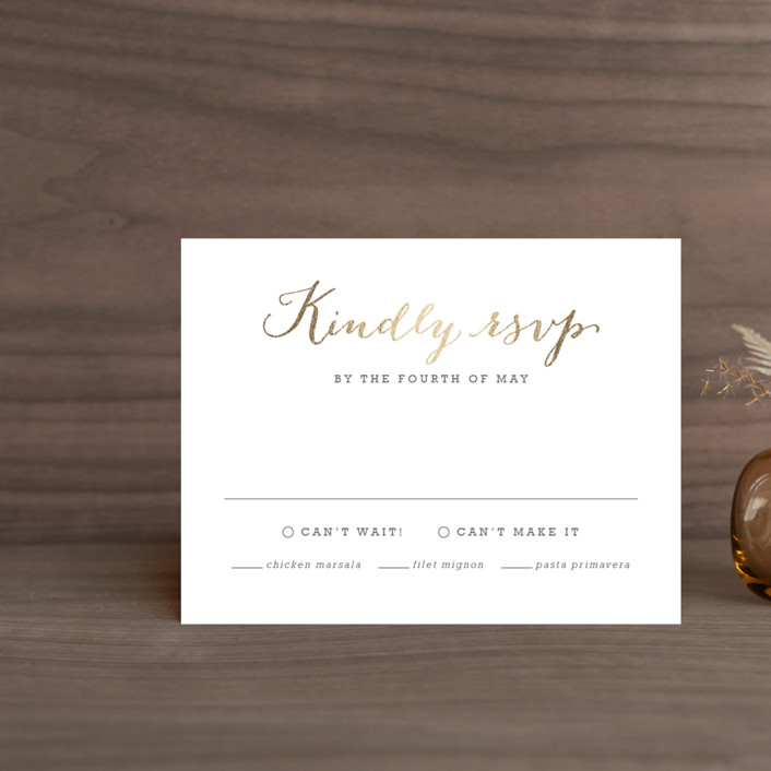 """Modern Photo Frame"" - Foil-pressed Rsvp Cards in Gold by Hooray Creative."