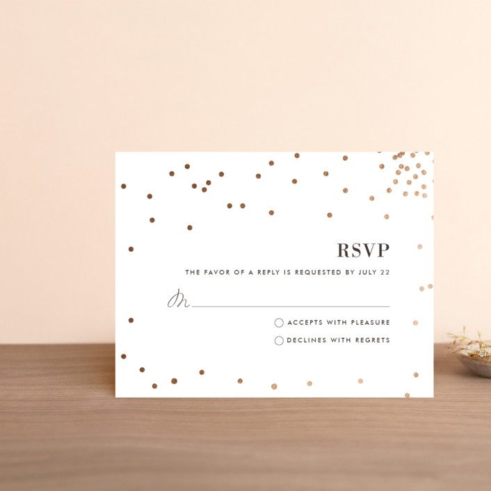 """Thrilling"" - Preppy Foil-pressed Rsvp Cards in Gold by Design Lotus."