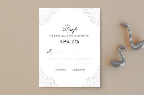 """Splendorous"" - Formal, Elegant Foil-pressed Rsvp Cards in Snow by Design Lotus."