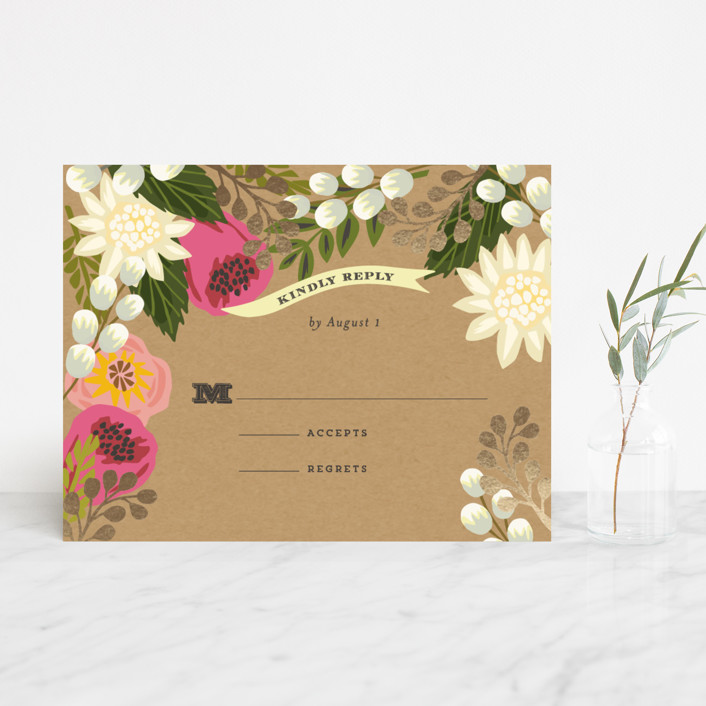 """Floral Canopy"" - Floral & Botanical, Rustic Foil-pressed Rsvp Cards in Peony by Griffinbell Paper Co.."