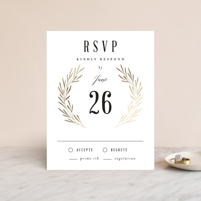 """Gilded Leaves"" - Monogram Foil-pressed Rsvp Cards in Classic White by Kelly Schmidt."
