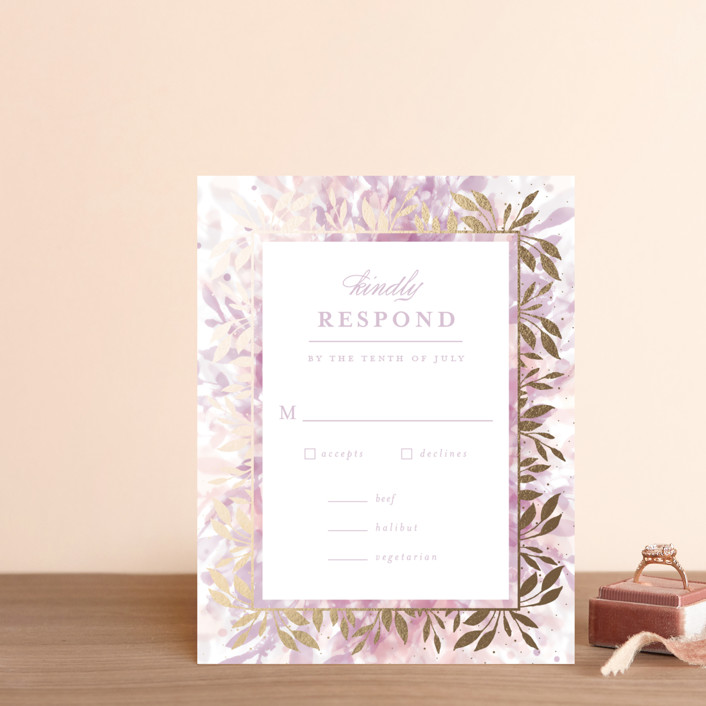 """""""botanical bokeh"""" - Foil-pressed Rsvp Cards in Lilac by Angela Marzuki."""
