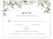This is a green rsvp card by Jennifer Postorino called Trailing Vine with foil-pressed printing on signature in standard.