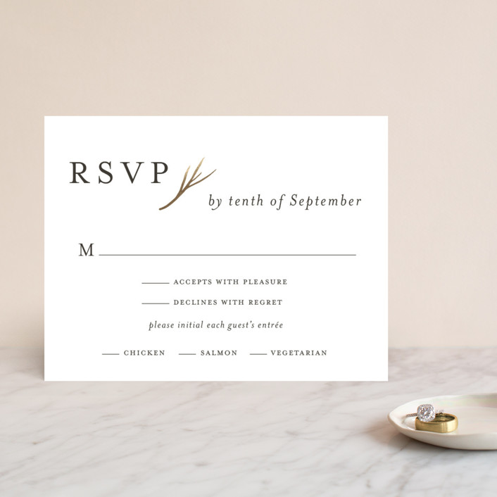 """antler"" - Foil-pressed Rsvp Cards in Ivory by Robin Ott."