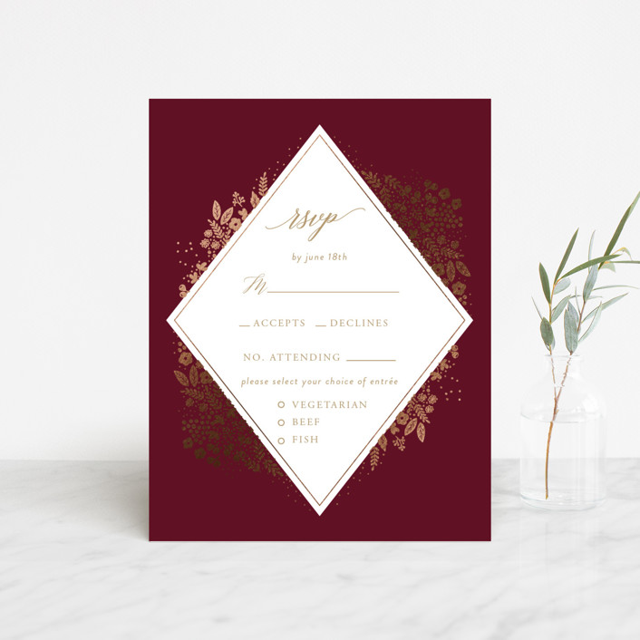 """Millefleur"" - Foil-pressed Rsvp Cards in Burgundy by My Splendid Summer."