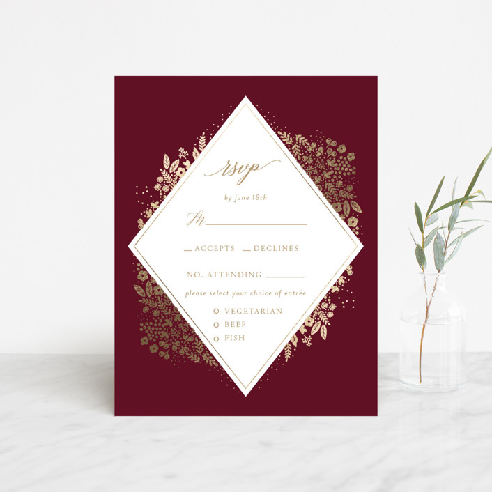 """Millefleur"" - Foil-pressed Rsvp Cards in Burgundy by My Splendid Summer."