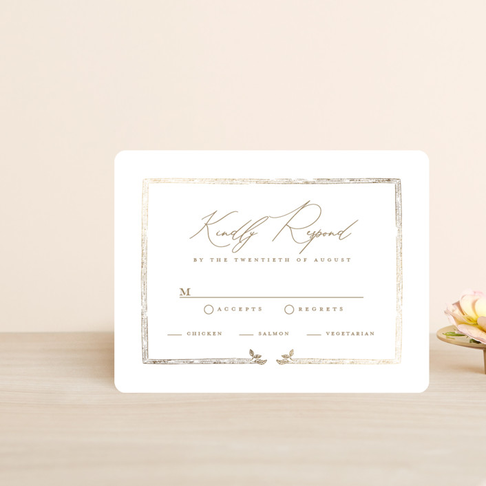 """""""Reflection"""" - Rustic Foil-pressed Rsvp Cards in Porcelain by Leah Bisch."""