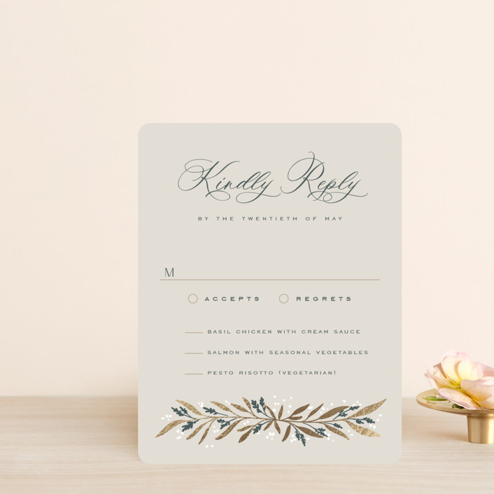 """""""Gilded"""" - Foil-pressed Rsvp Cards in Slate by Leah Bisch."""
