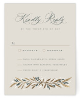 This is a green rsvp card by Leah Bisch called Gilded with foil-pressed printing on signature in standard.