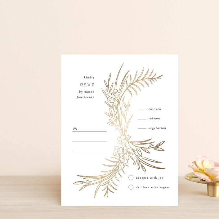 """""""Delicate Woodland"""" - Foil-pressed Rsvp Cards in Silk by Shiny Penny Studio."""