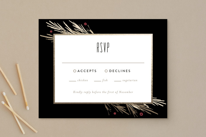"""Winter Berry"" - Rustic Foil-pressed Rsvp Cards in Tuxedo by Kelly Nasuta."