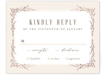 This is a beige rsvp card by chocomocacino called positano with foil-pressed printing on signature in standard.