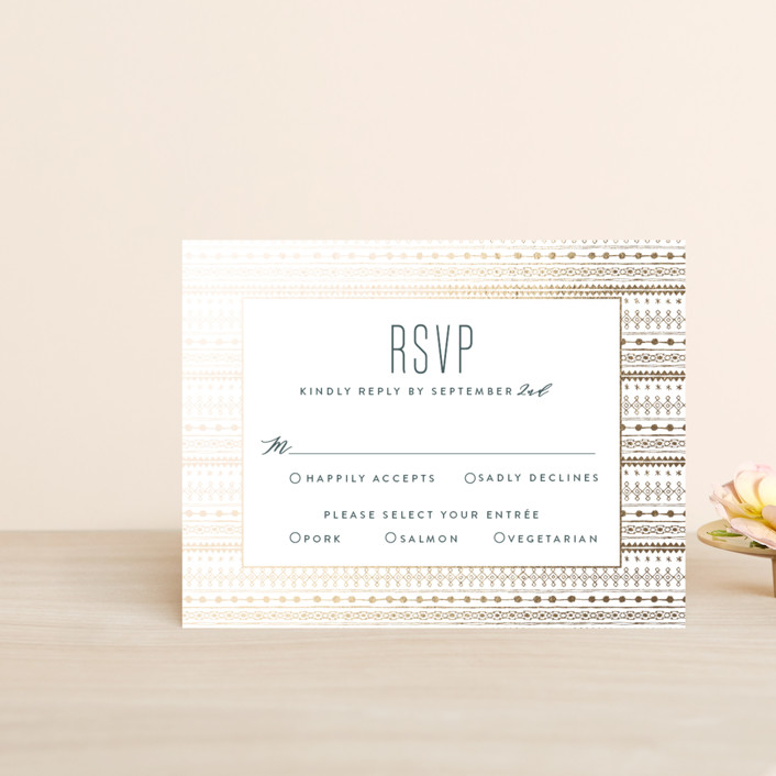 """boho glam"" - Foil-pressed Rsvp Cards in Ink by Carolyn Nicks."