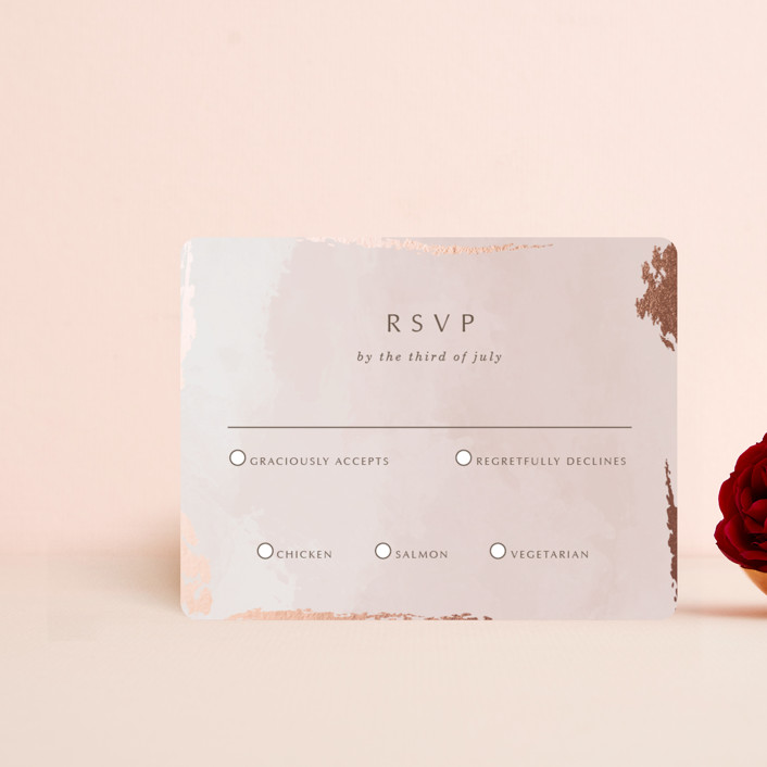 """""""Watercolor Sunset"""" - Foil-pressed Rsvp Cards in Sunset Rose by Stellax Creative."""