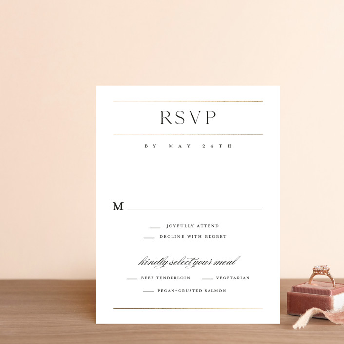 """""""Heard the news"""" - Foil-pressed Rsvp Cards in Cotton by Stacey Meacham."""