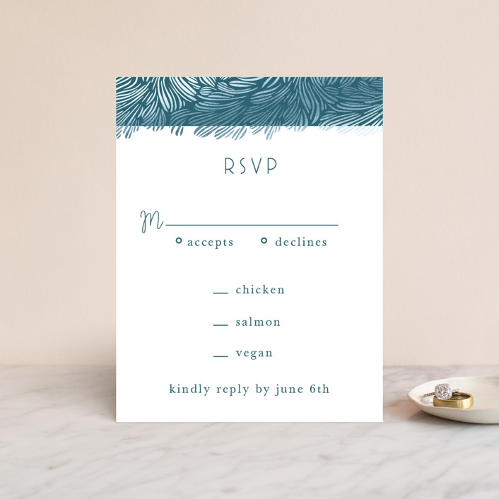 """""""Wailea Waves"""" - Foil-pressed Rsvp Cards in Pacific Blue by raven erebus."""