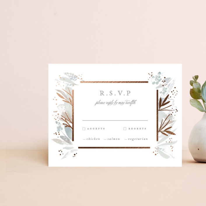 """Blooming border"" - Rustic Foil-pressed Rsvp Cards in Mettalic by Creo Study."