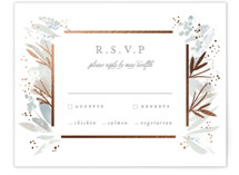 This is a grey rsvp card by Creo Study called Blooming border with foil-pressed printing on signature in standard.