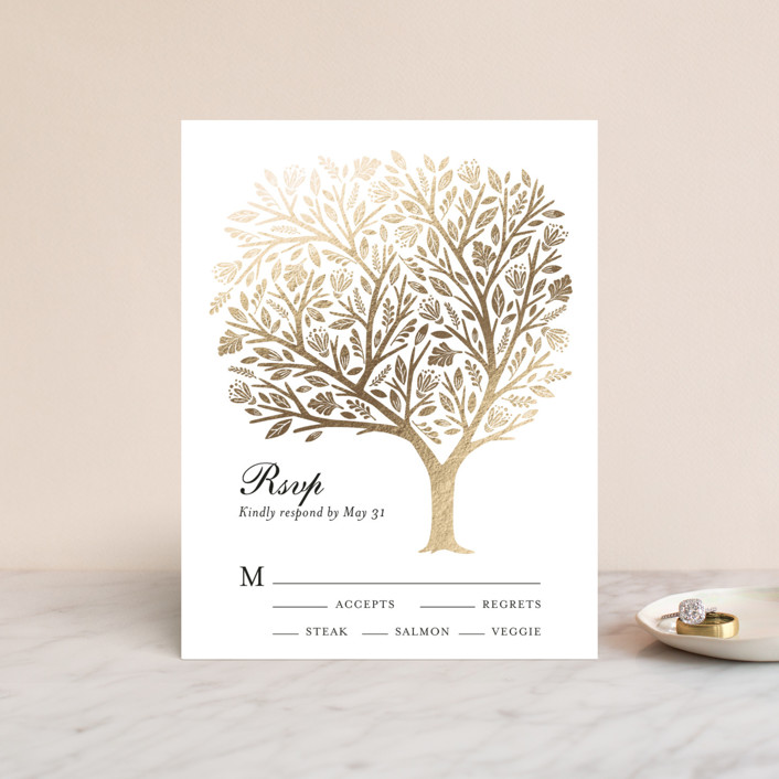 """Isola Bella"" - Rustic, Whimsical & Funny Foil-pressed Rsvp Cards in Gold by Griffinbell Paper Co.."