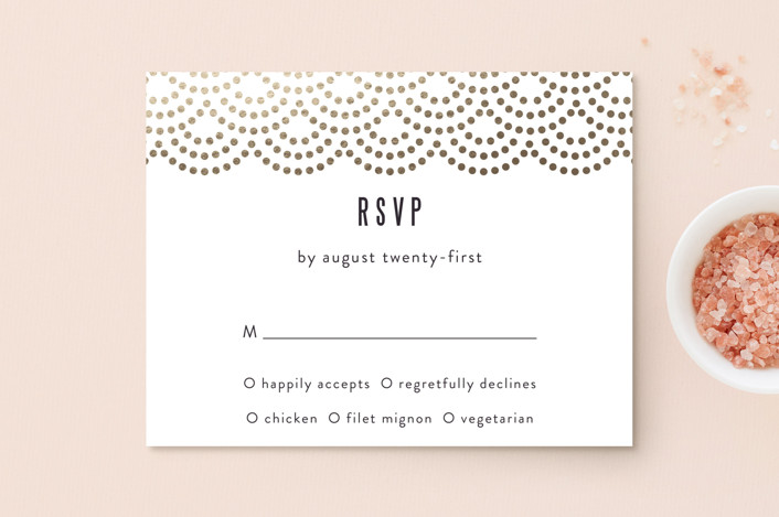 """Shimmer"" - Vintage Foil-pressed Rsvp Cards in Indigo by Kampai Designs."
