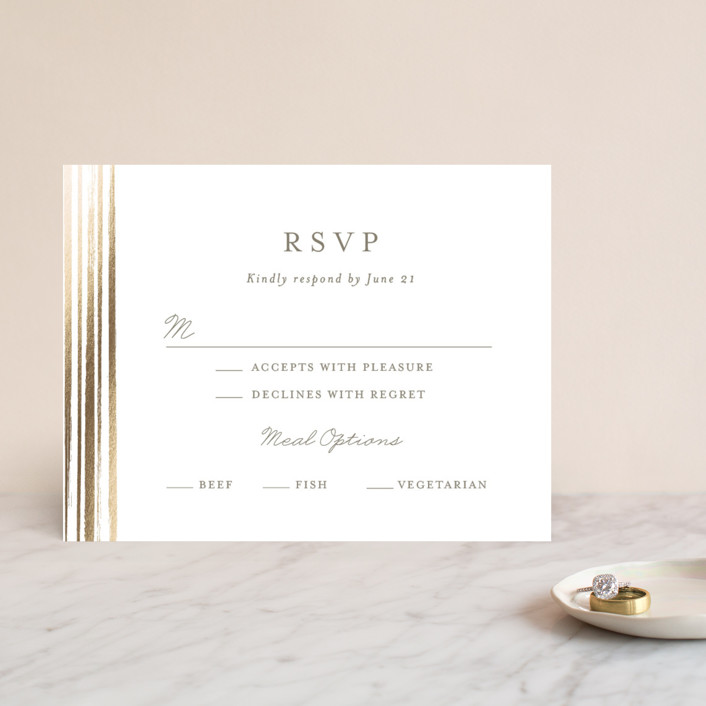 """Bianco"" - Modern Foil-pressed Rsvp Cards in Gold by chocomocacino."