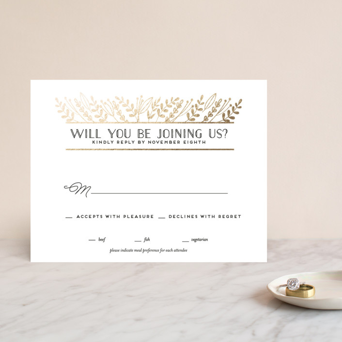 """""""Gilded Glyph"""" - Rustic Foil-pressed Rsvp Cards in Gold by shoshin studio."""