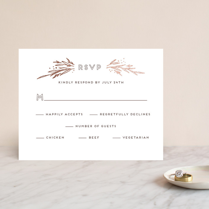 """Modern Branches"" - Rustic Foil-pressed Rsvp Cards in Rose Gold by Grace Kreinbrink."