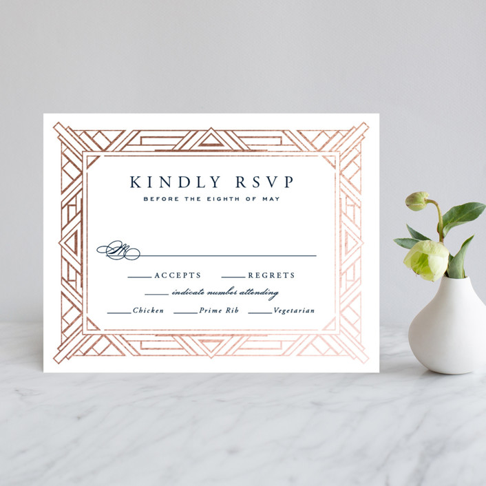"""Opulent Border"" - Elegant, Vintage Foil-pressed Rsvp Cards in Dark Navy by Hooray Creative."