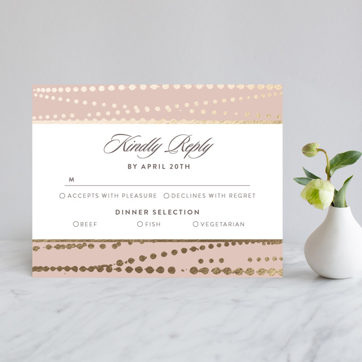 """Romantic Ripples"" - Vintage Foil-pressed Rsvp Cards in Antique Rose by Ana Sharpe."