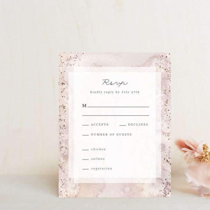 """""""Champagne"""" - Foil-pressed Rsvp Cards in Flutter by Creo Study."""