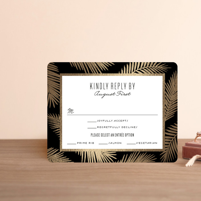 """""""Gilded Palms"""" - Foil-pressed Rsvp Cards in Cotton by carla san roman."""
