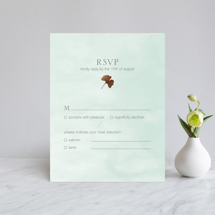 """""""Ginkgo Flutters"""" - Bohemian Foil-pressed Rsvp Cards in Mint by Monica Cheng."""