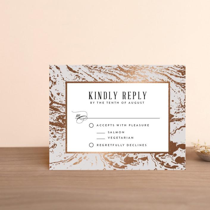 """""""Modern Marble"""" - Rustic Foil-pressed Rsvp Cards in Cloud by Kelly Schmidt."""