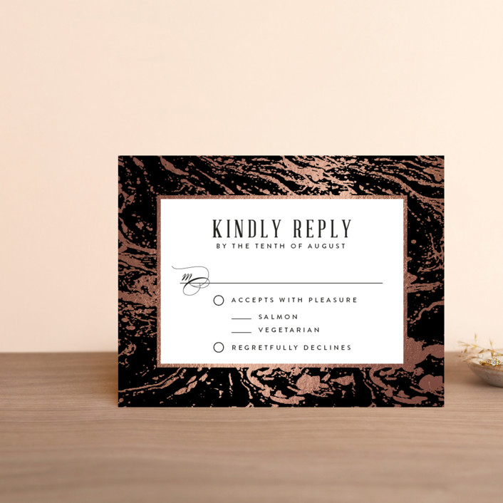 """Modern Marble"" - Rustic Foil-pressed Rsvp Cards in Cloud by Kelly Schmidt."