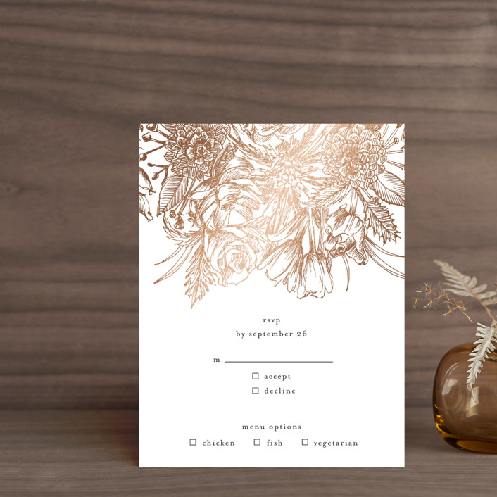 """""""Sketched Bouquet"""" - Foil-pressed Rsvp Cards in Petal by Phrosne Ras."""