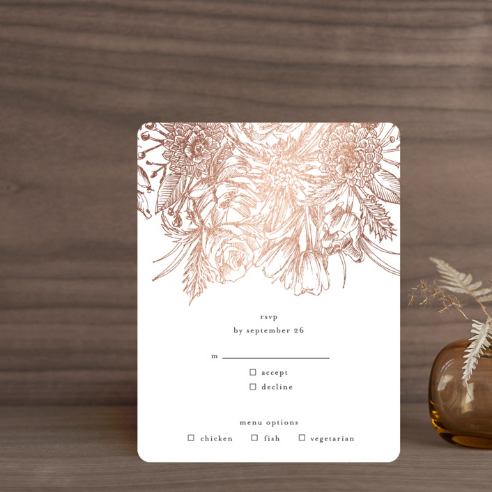 """Sketched Bouquet"" - Foil-pressed Rsvp Cards in Petal by Phrosne Ras."
