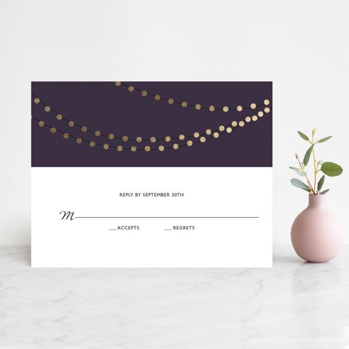 """Midnight Vineyard"" - Bohemian, Rustic Foil-pressed Rsvp Cards in Deep Eggplant by Design Lotus."