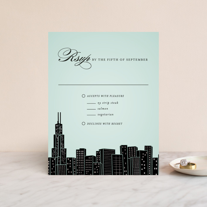 """Big City - Chicago"" - Foil-pressed Rsvp Cards in Mint by Hooray Creative."