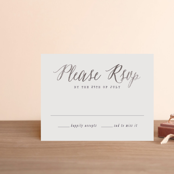 """Garden Lights"" - Rustic Foil-pressed Rsvp Cards in Plum by Hooray Creative."