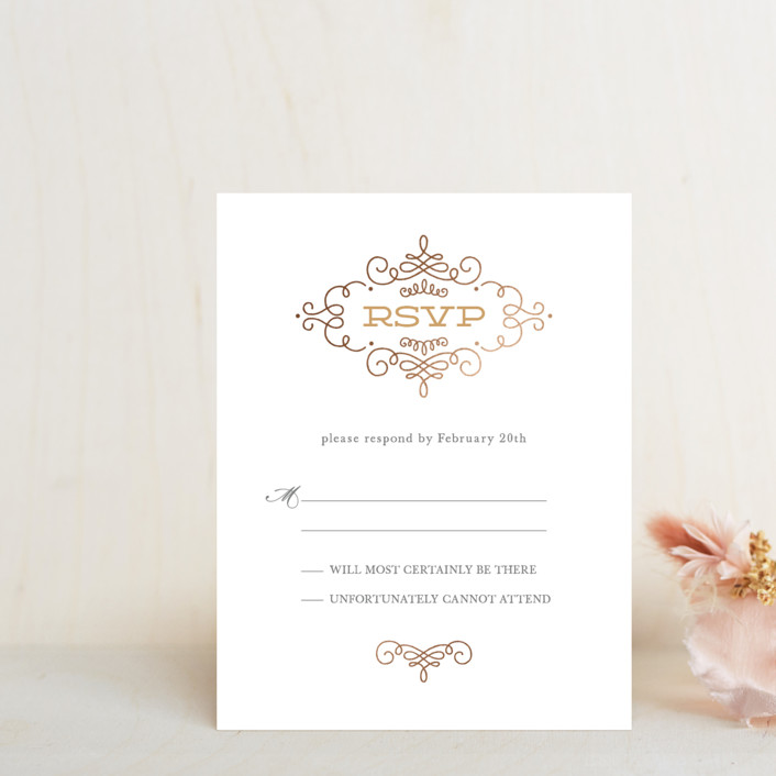 """Ornate Monogram"" - Modern Foil-pressed Rsvp Cards in Gold by Kristen Smith."
