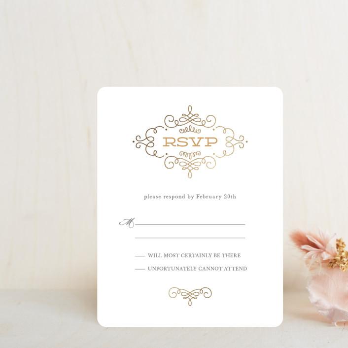 """Ornate Monogram"" - Modern Foil-pressed Rsvp Cards in Ash by Kristen Smith."