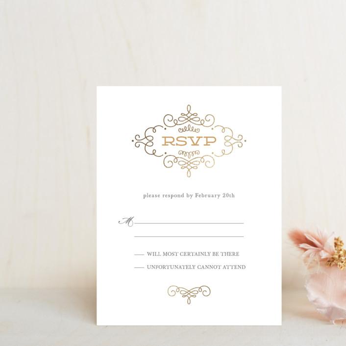 """Ornate Monogram"" - Modern Foil-pressed Rsvp Cards in Gold by Kristen Smith."