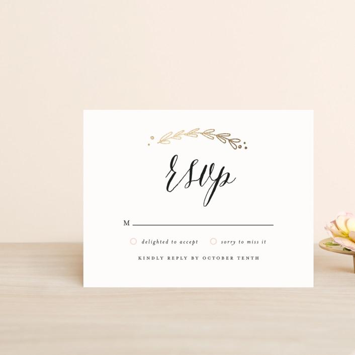 """Always"" - Floral & Botanical, Rustic Foil-pressed Rsvp Cards in Gold by Susan Brown."