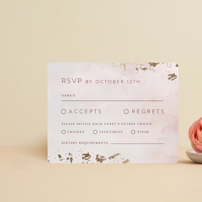 """""""Warm Love"""" - Foil-pressed Rsvp Cards in Wine by Lucrecia."""