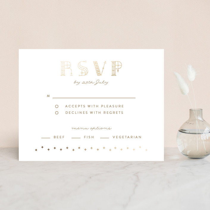 """Gilded Celebration"" - Foil-pressed Rsvp Cards in Frosted Gold by curiouszhi design."