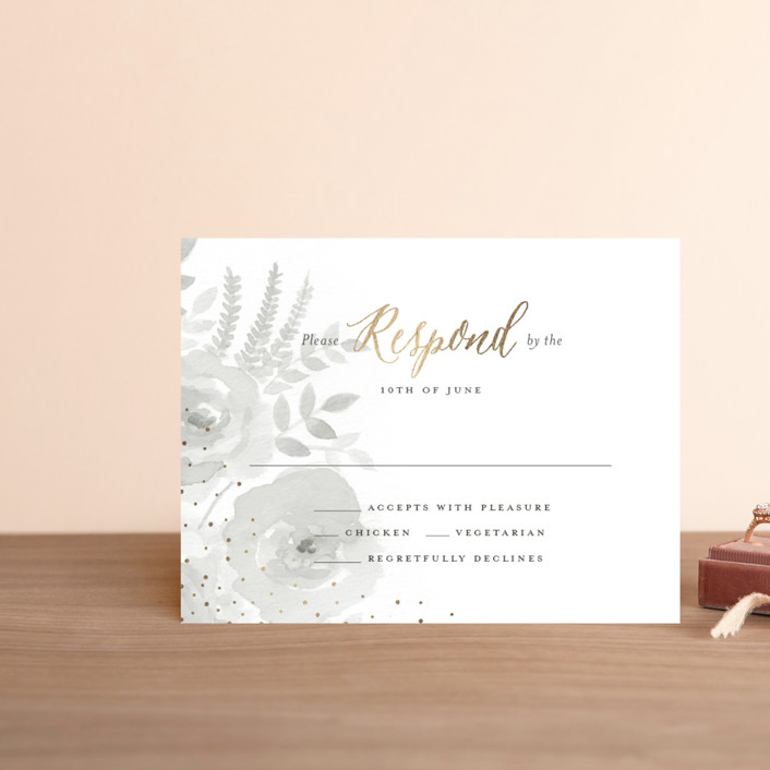 """""""Watercolor Floral"""" - Foil-pressed Rsvp Cards in Fog by Jill Means."""