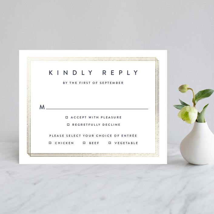"""Elegantly Framed"" - Foil-pressed Rsvp Cards in Blanc by Stacey Meacham."