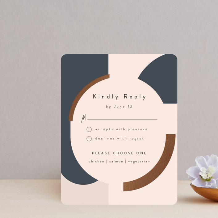 """""""Blocks of Color"""" - Modern Foil-pressed Rsvp Cards in Natural Slate by Maria Hilas-Louie."""