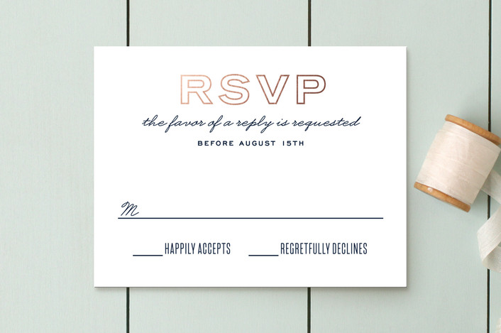 """Into the Woods"" - Foil-pressed Rsvp Cards in Navy by Hooray Creative."
